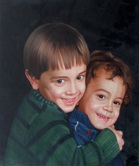 portrait painting. Brothers Portrait Painting